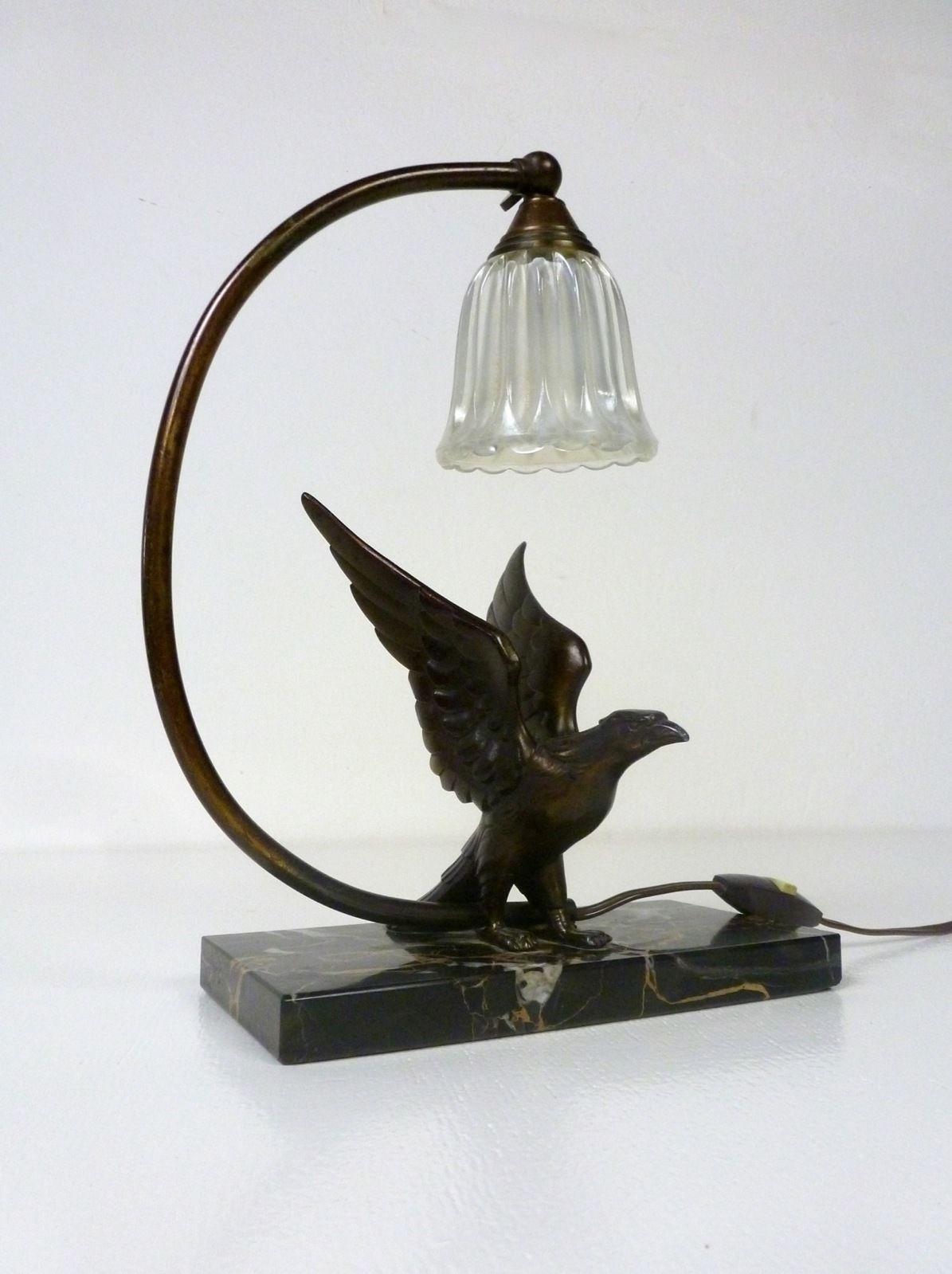 original french art deco lamp art nouveau eagle marble desk lamp