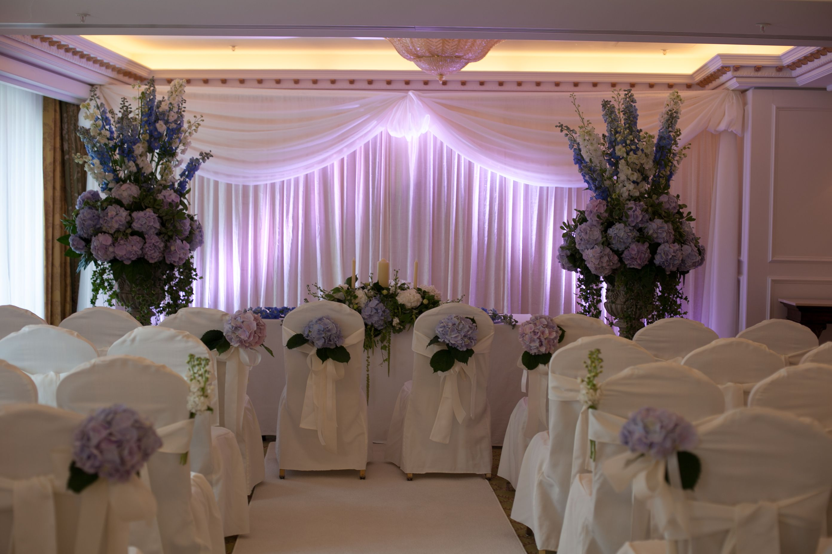 purple themed civil ceremony in powerscourt hotel visit wwwgotchacoveredie for more - Purple Hotel Decor