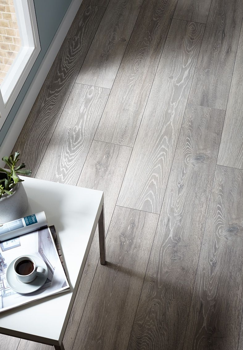 Our 3 Strip Grey Oak Flooring Provides Texture And Creates A Unique Look In Your Universal Kitchen The Universa Flooring Gray Oak Floor Grey Laminate Flooring