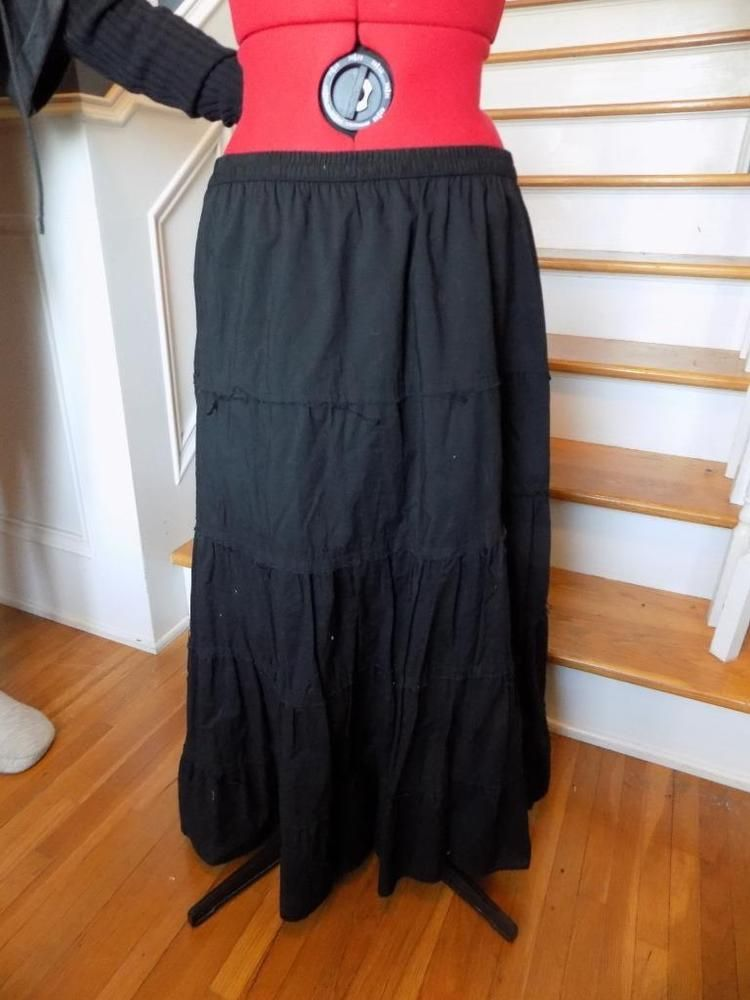 4de19b4f095 On Sale! Black 100% Cotton Peasant Skirt WHITE STAG Plus Size 2X Lined Full  Sweep