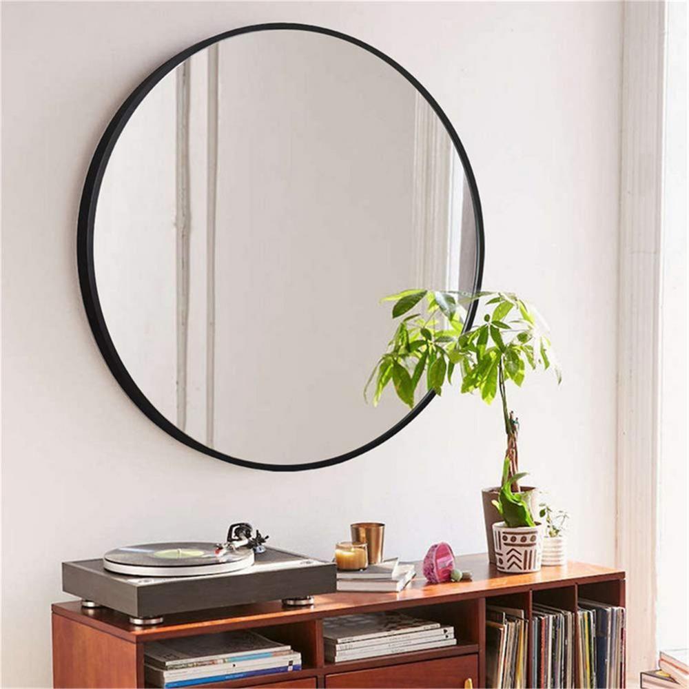 Medium Round Black Hooks Modern Mirror 31 5 In H X 31 5 In W Jj00374aaf The Home Depot Black Round Mirror Round Wall Mirror Modern Mirror [ 1000 x 1000 Pixel ]