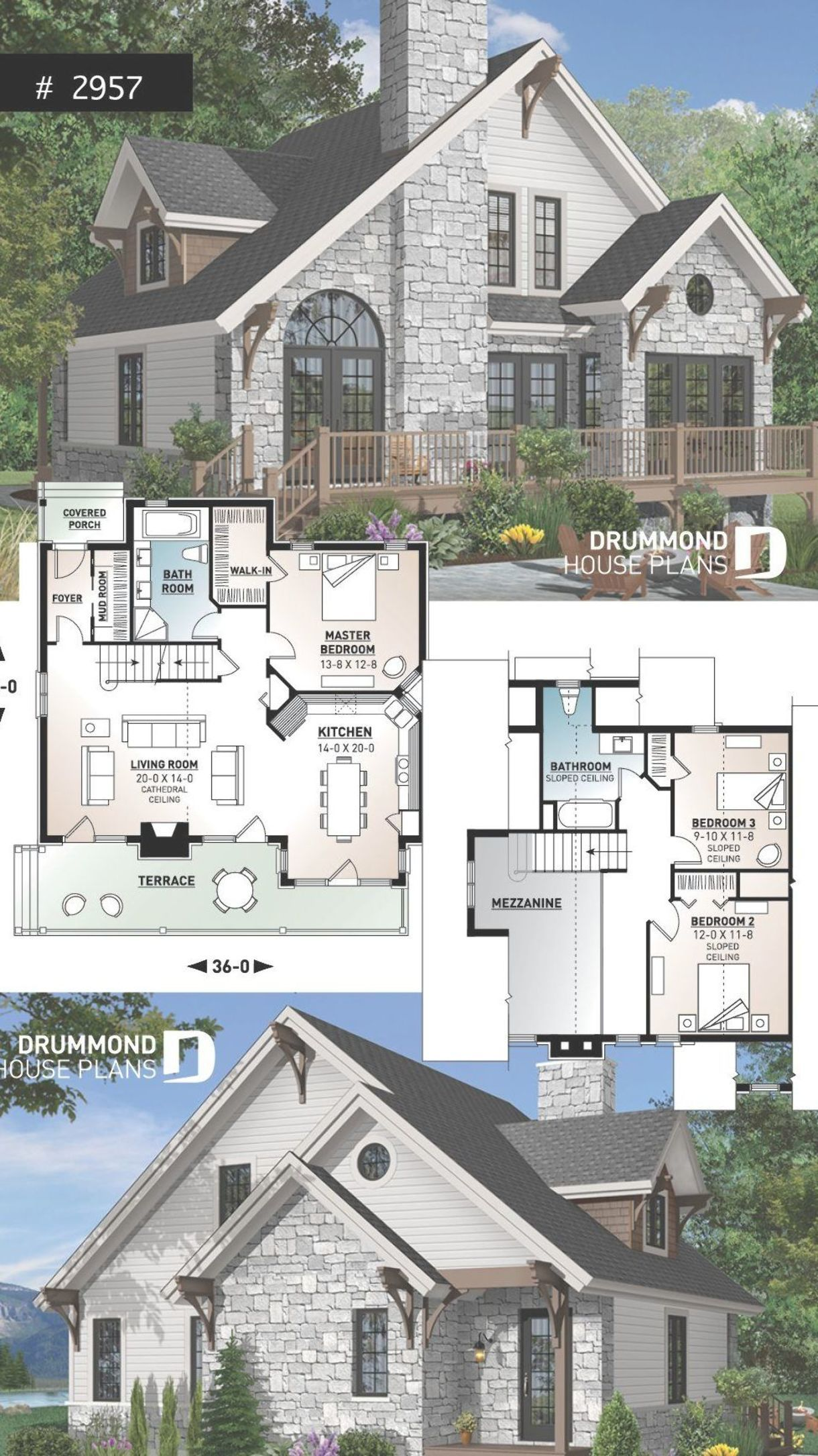 Northwest Style Cottage House Plan 3 Beds Large Terrace Mezzanine Fireplace And Open Floor Plan Sims House Plans Craftsman House Plans Cottage House Plans