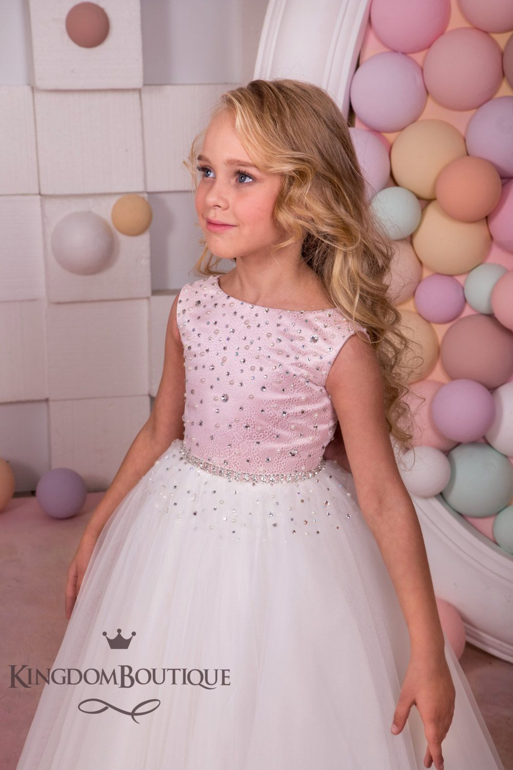 Pink and Ivory Flower Girl Dress - Holiday Bridesmaid Birthday ...