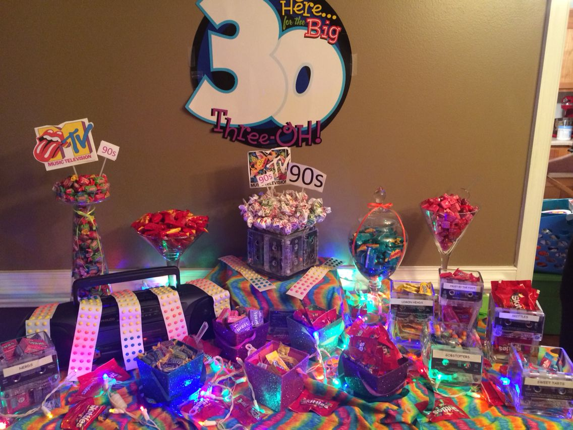 30th birthday 90s themed party candy table30th birthdaythemed partiesideas