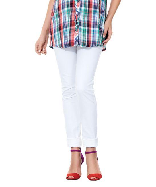 Ebru White Over-Belly Maternity Straight-Leg Pants