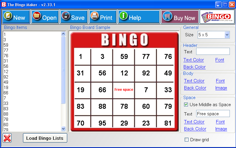 Sample Bingo Card Template - Design Templates
