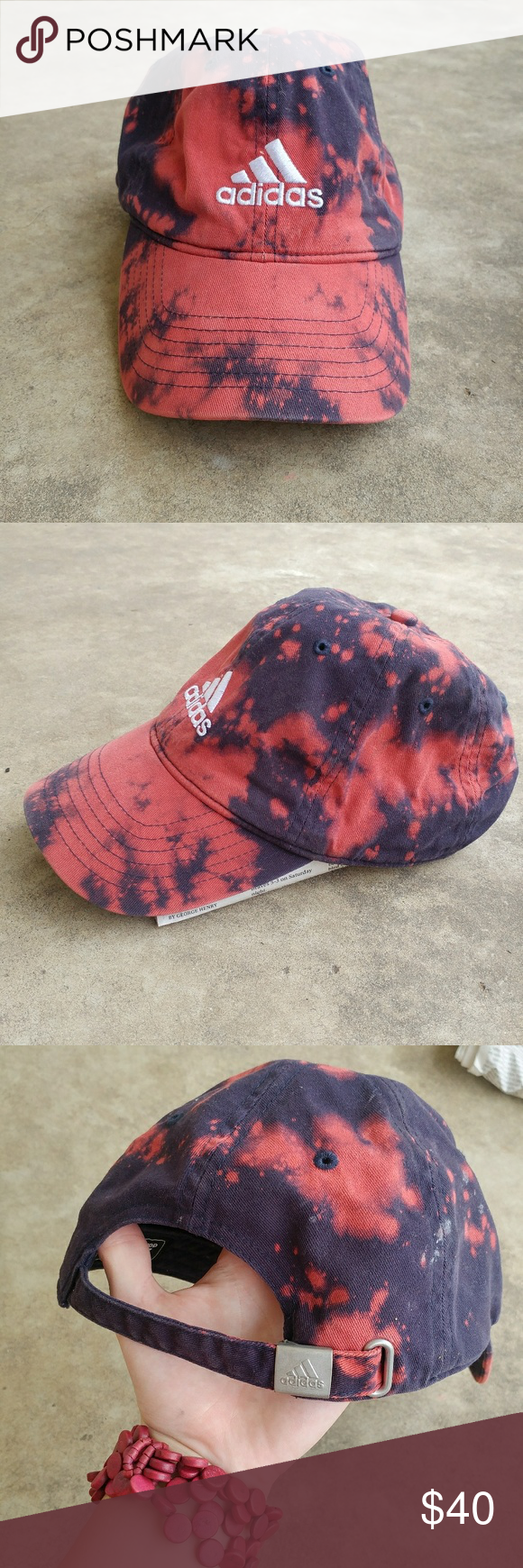 a846078a17afb Distressed Adidas Hat Navy blue hat. Bleach dyed. Distressed. One of a kind  awesome hat! Looks pinkish red and navy blue. adidas Accessories Hats