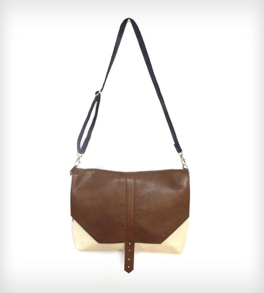 Marie Leather & Canvas Satchel Bag