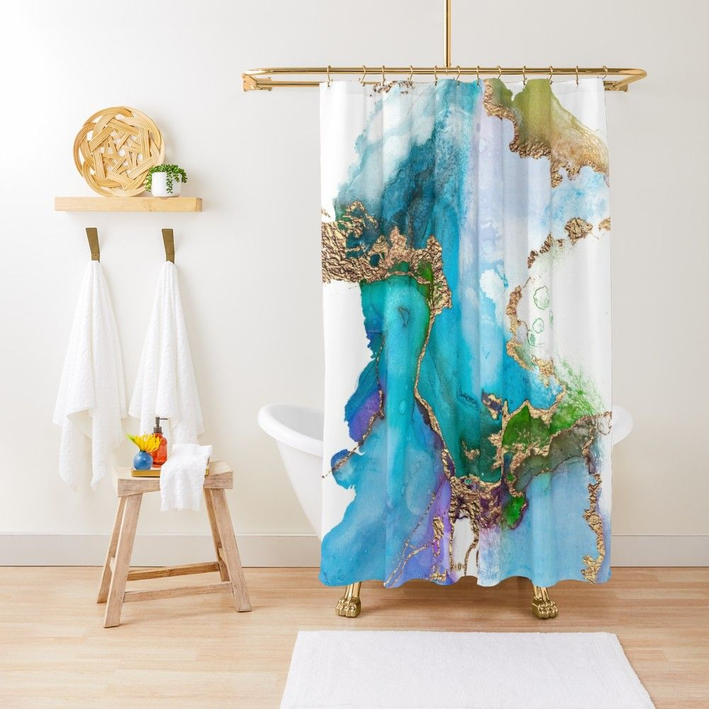 Abstract Marble Mermaid Gemstone With Gold Glitter Shower Curtain By Mysticmarble Glitter Shower Curtain Unique