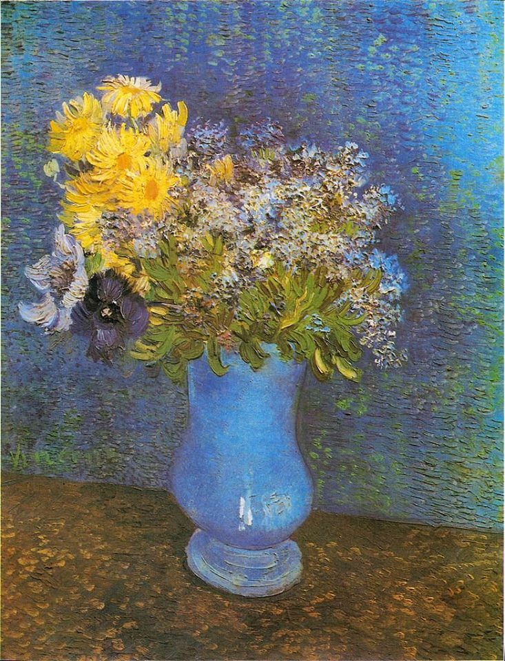 Vincent Van Gogh Bouquet Of Flowers In A Blue Vase Also Known As