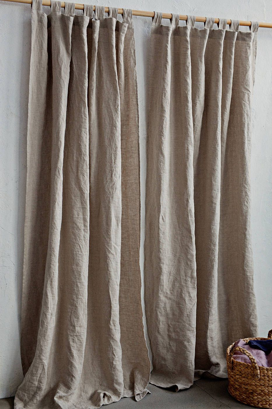 Tab Top Linen Curtain Panel Semi Sheer Window Or Door Curtain