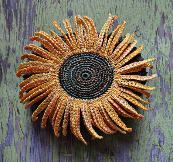 Folk Art, Mixed Media, Crochet Flower Stone, Original, Handmade, Sunflower, Table Decorations, Nature, Garden, Decorative Arts