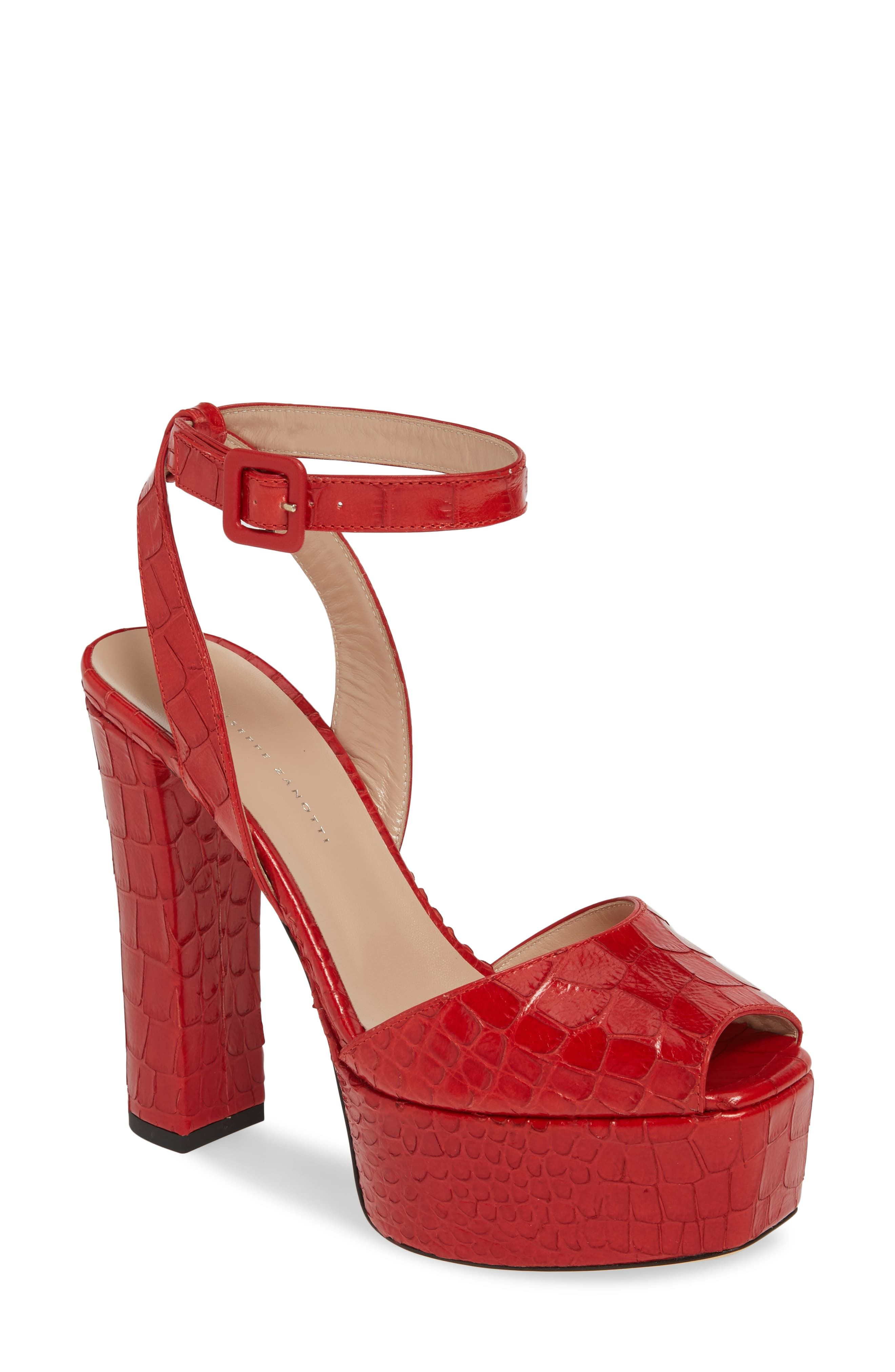eb004ccba6dab Women's Guiseppe Zanotti Platform Block Heel Sandal, Size 11 M - Red