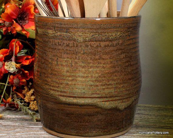 Nice Hand Thrown Kitchen Utensil Holder Ceramic Tool Crock By HurricanePottery  On Etsy #utensilholder