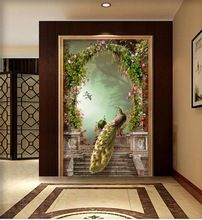 Custom photo 3d wallpaper room mural Non-woven mural Peacock Rome column 3D entrance arch 3d wall wallpaper decoration painting(China (Mainland))