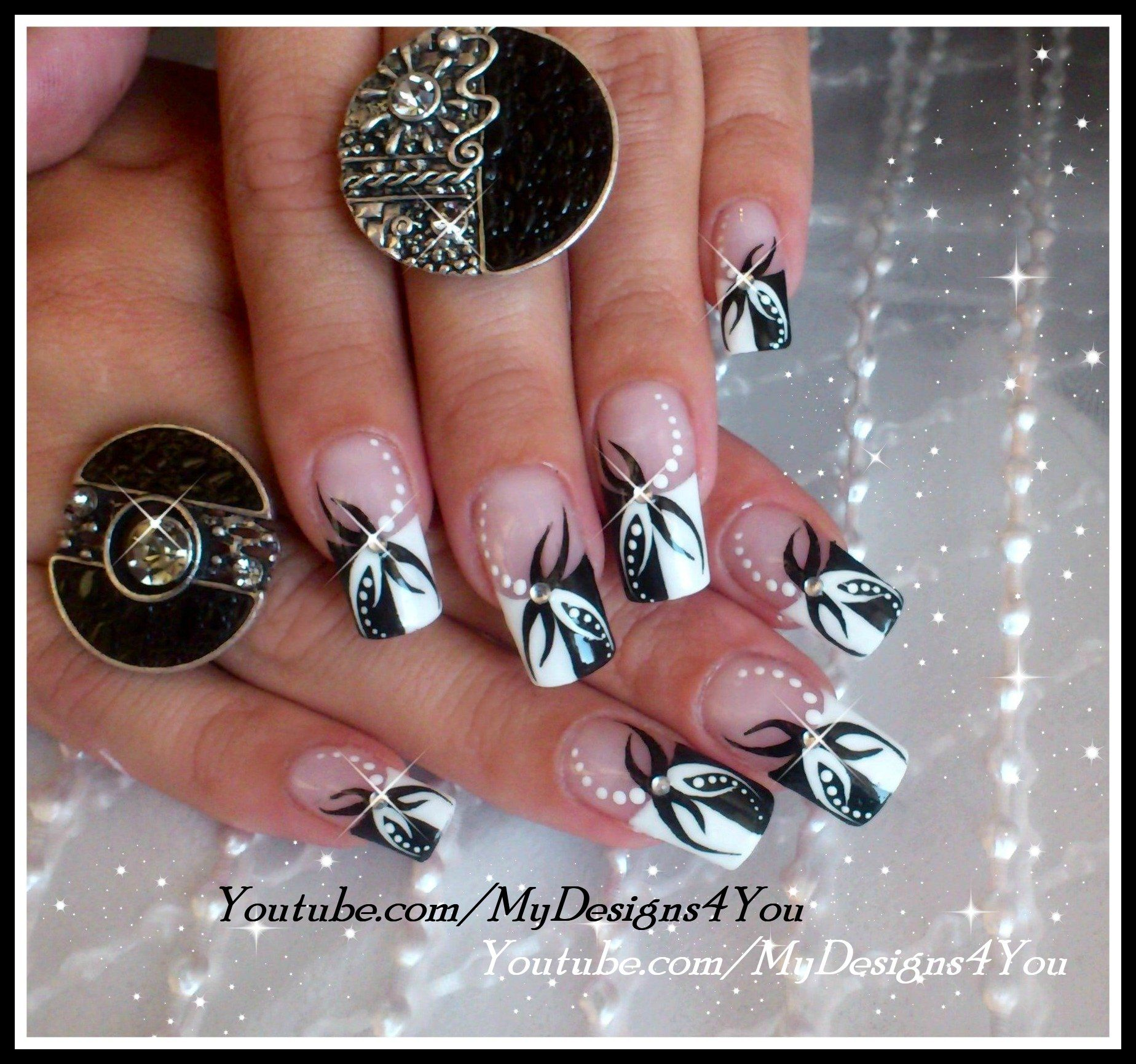 BLACK AND WHITE ABSTRACT NAIL ART DESIGN TUTORIAL by MyDesigns4You ...