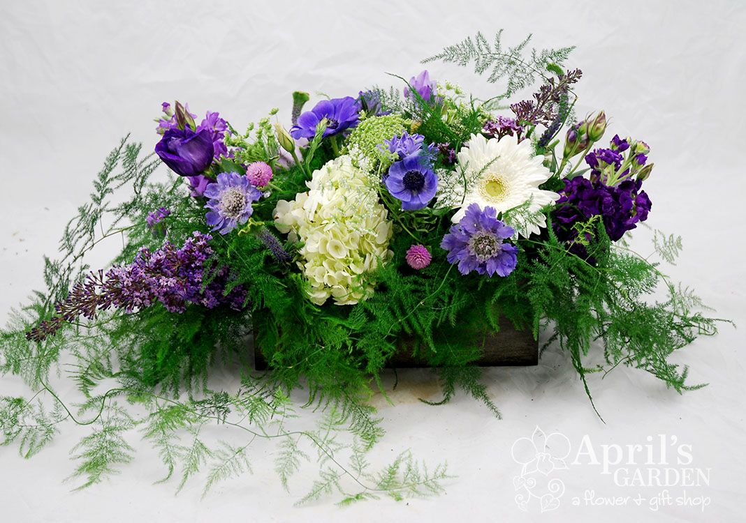 Purple And White Garden Centerpieces Butterfly Bush Stock Thistle
