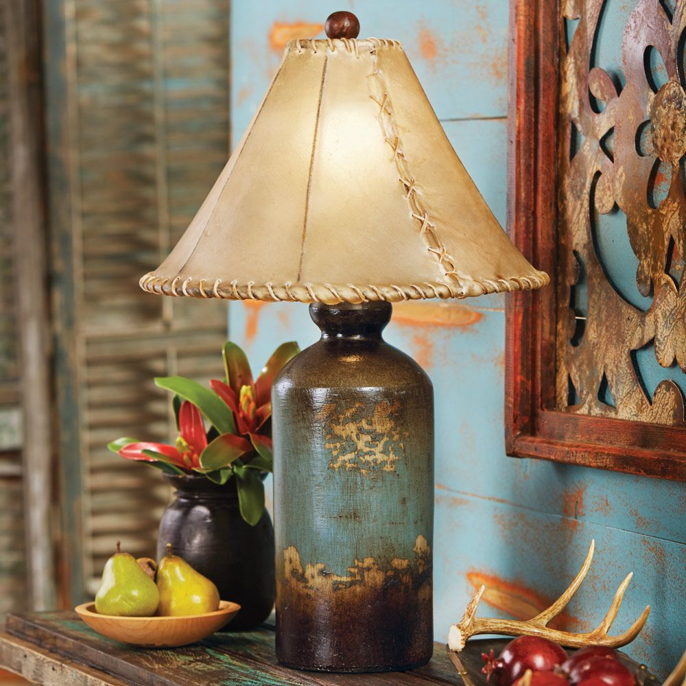 Turquoise Pottery Table Lamp With Rawhide Shade Rustic