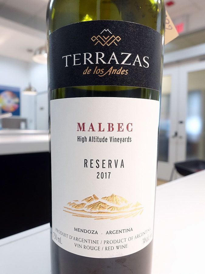 Terrazas De Los Andes Reserva Malbec 2017 89 Pts Wine Malbec Wine Recommendations