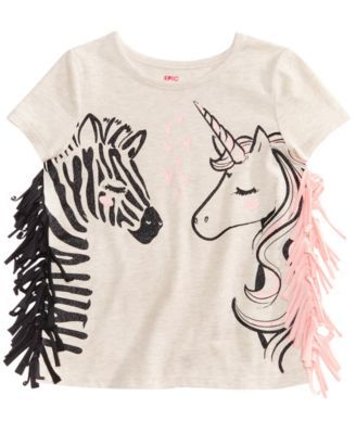 Epic Threads Zebra & Unicorn Graphic-Print T-Shirt, Little Girls, Created for Macy's & Reviews - Shirts & Tees - Kids - Macy's