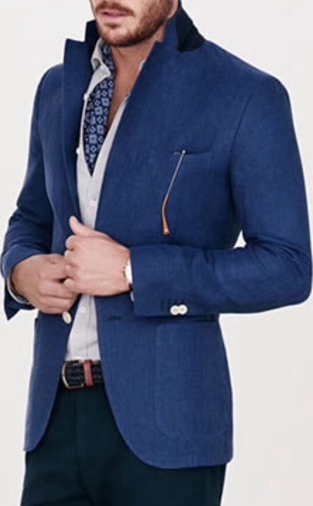 Dark Blue / Navy Blazer . Light Grey / Ecru Oxford Shirt . Dark Blue / Navy Print Scarf . Dark Blue / Navy Chinos