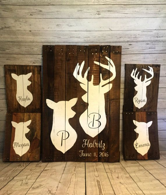 Wooden Texas Recycled Pallet Sign By Rusticrestyle On Etsy: Family Deer Sign Recycled Pallet Deer Sign By