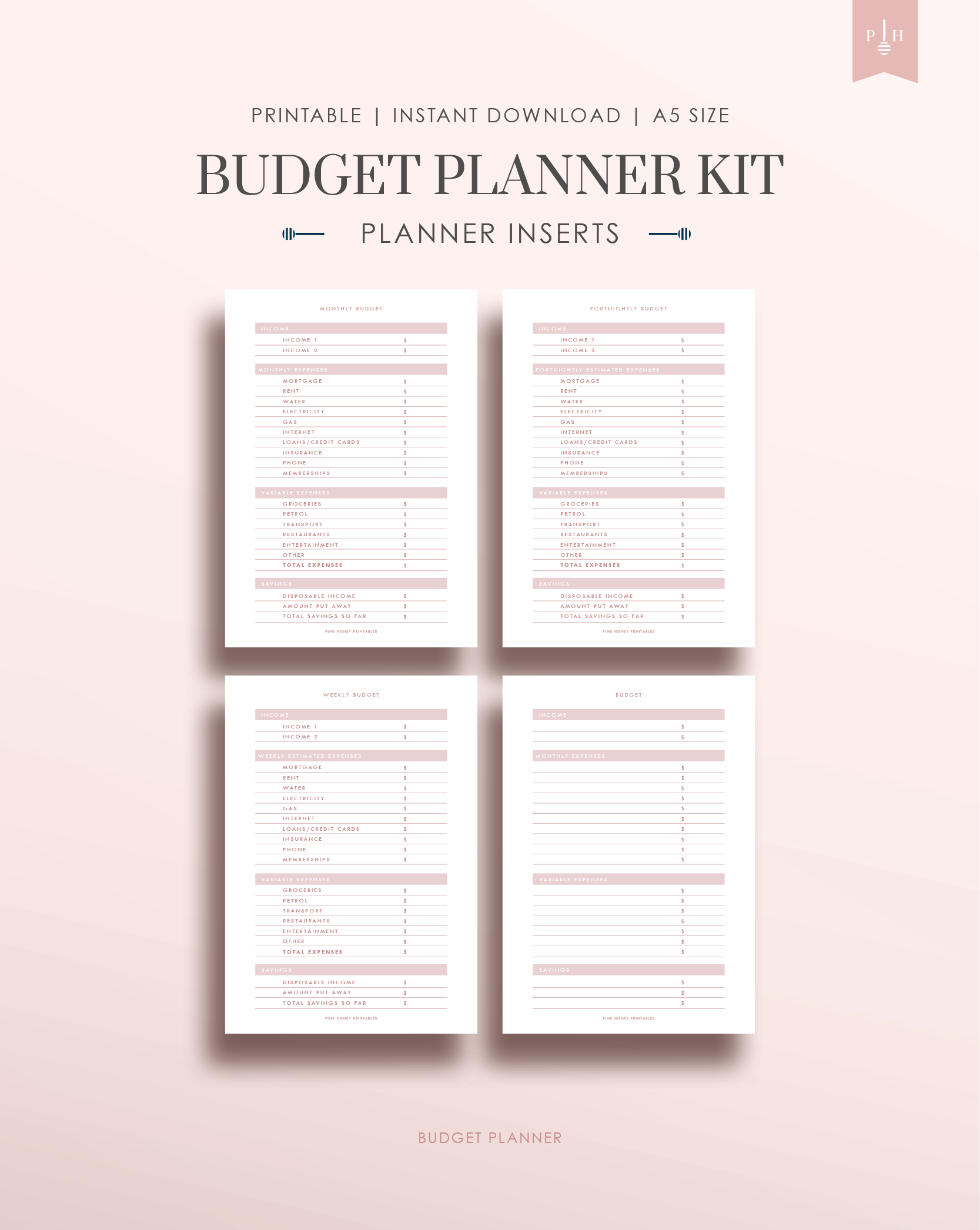 Financial Planner Kit Monthly Budget Binder Household