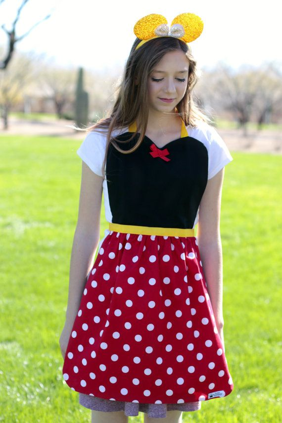 Adult/ Teen Red dot MINNIE MOUSE costume APRON. Disney inspired Fits ...