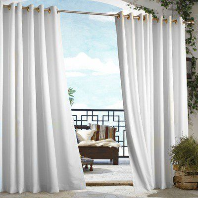 Outdoor Decor Gazebo Grommet Outdoor Curtain Panel White 70315