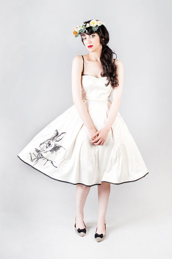 Tea length ivory satin wedding dress with a rabbit print , Woodland wedding, alternative wedding dress