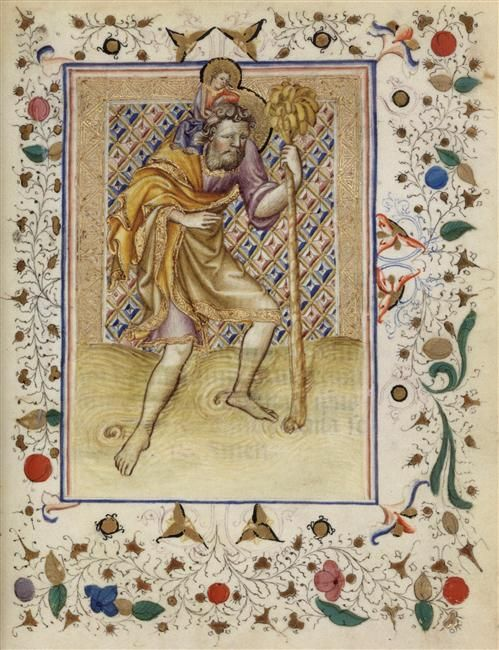 Antiphonae et orationes : saint Christophe Description : Livre de prières vers 1420