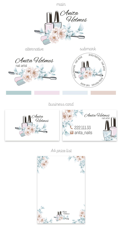 Nail Artist Branding Kit Salon Package Nails Business Card