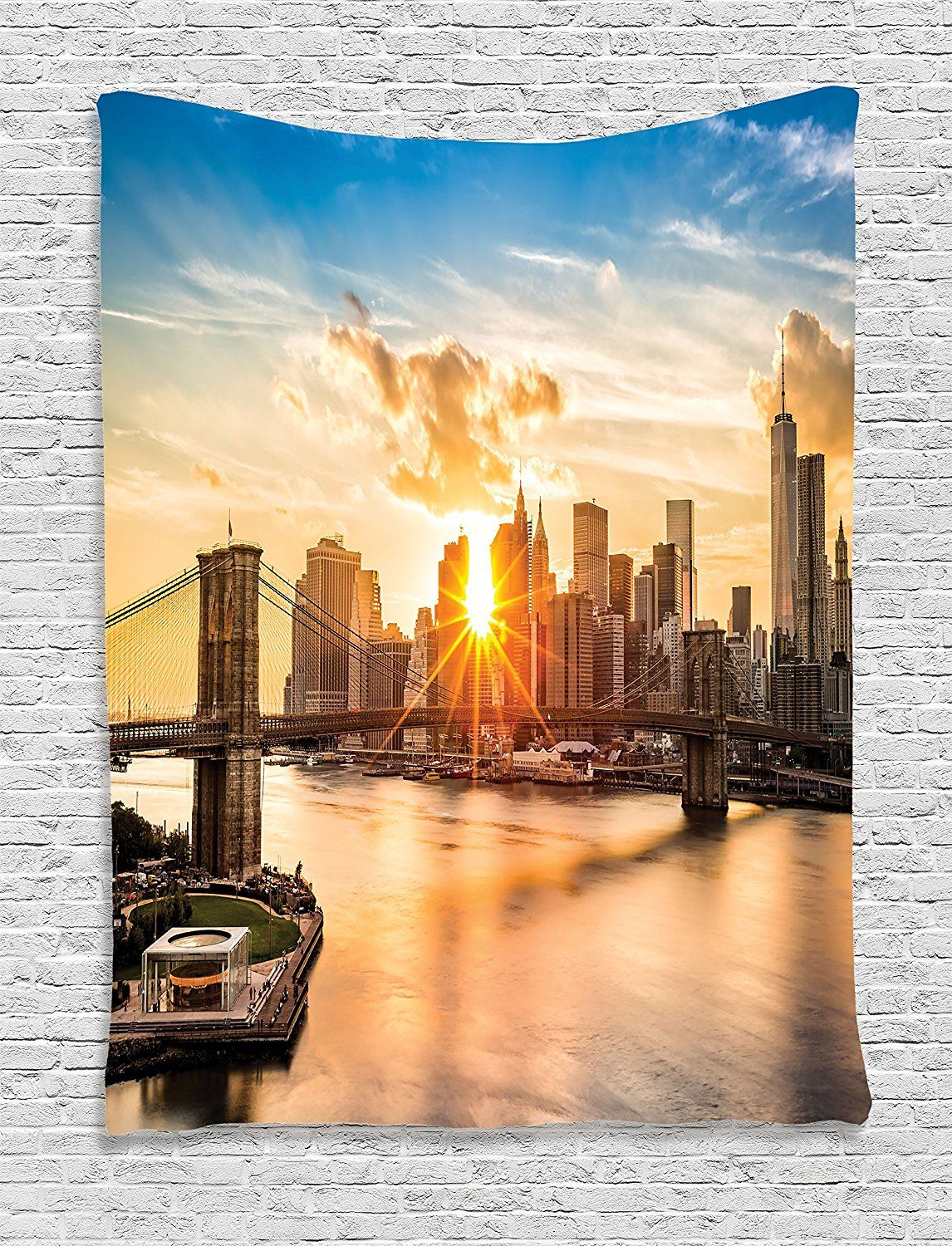 Nyc Decor Tapestry By Ambesonne, Cityscape Of Brooklyn Bridge And ...