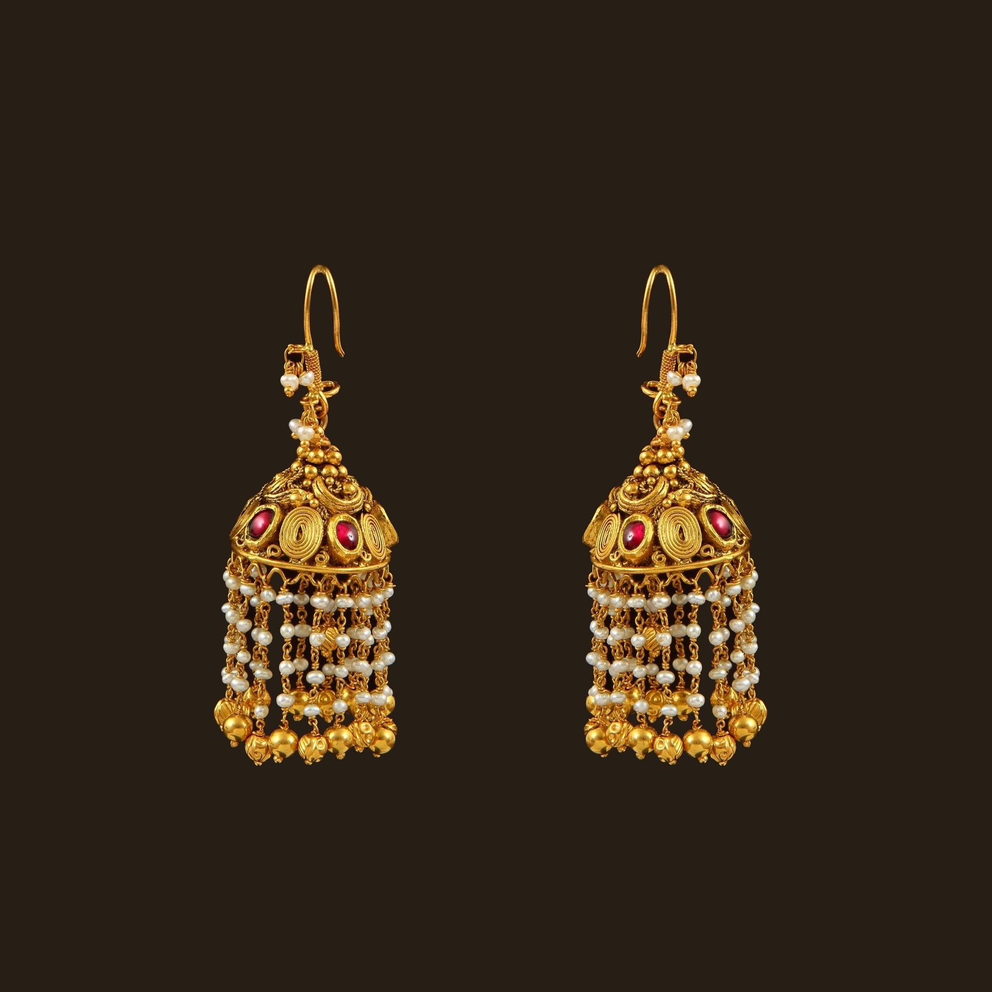 South Indian Jewellery Designs For Brides To Look Drop: Gold Pearls Hook Drops (108A36240)