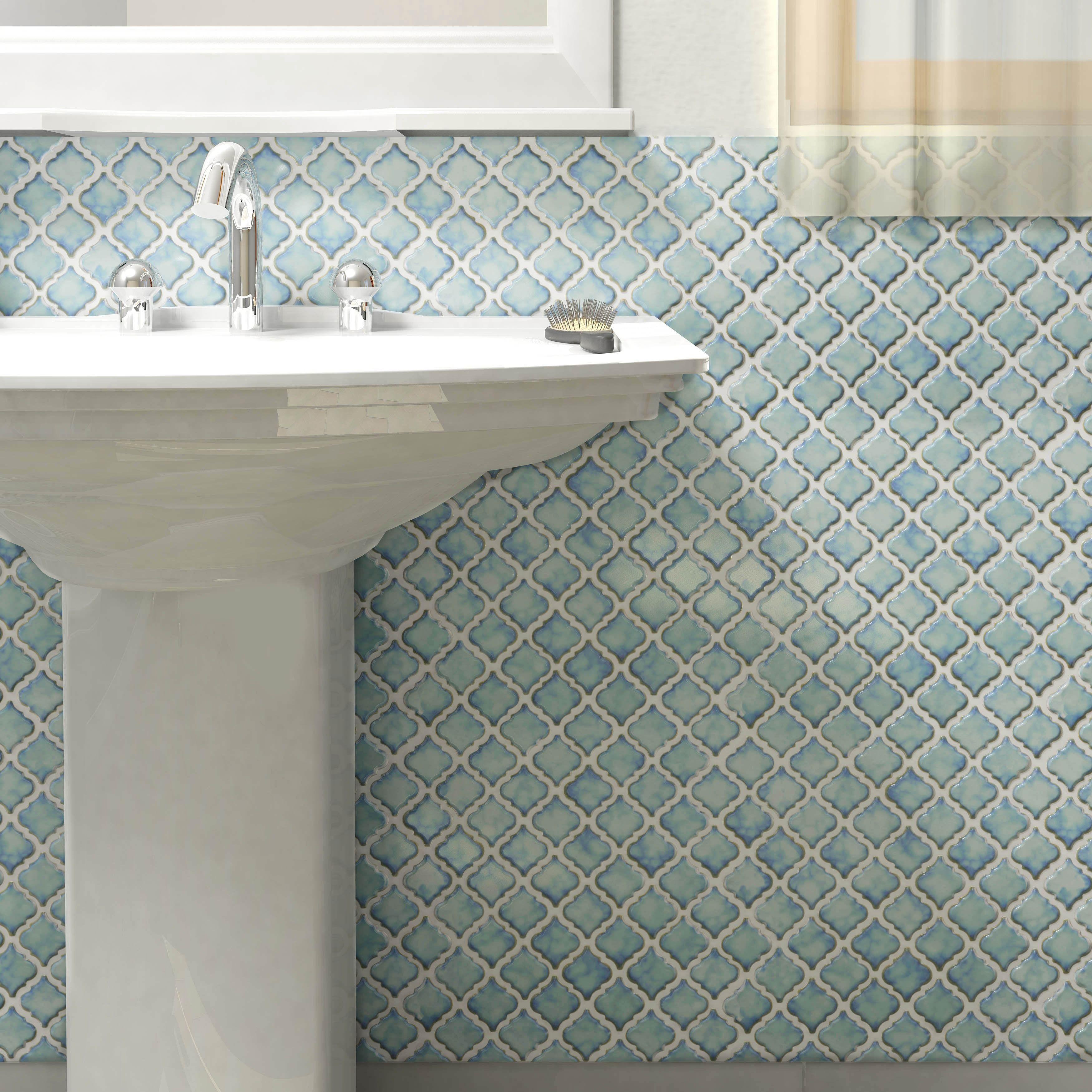 This Somertile 125 X 12375 Inch Antaeus Marine Porcelain Mosaic Floor
