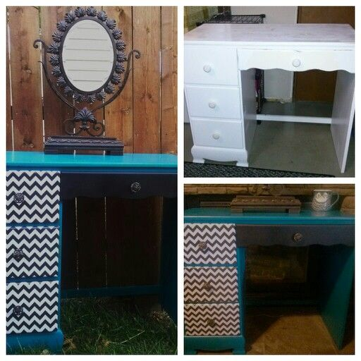 Plain desk turned into a beautiful eye catcher. Could be used as a ...