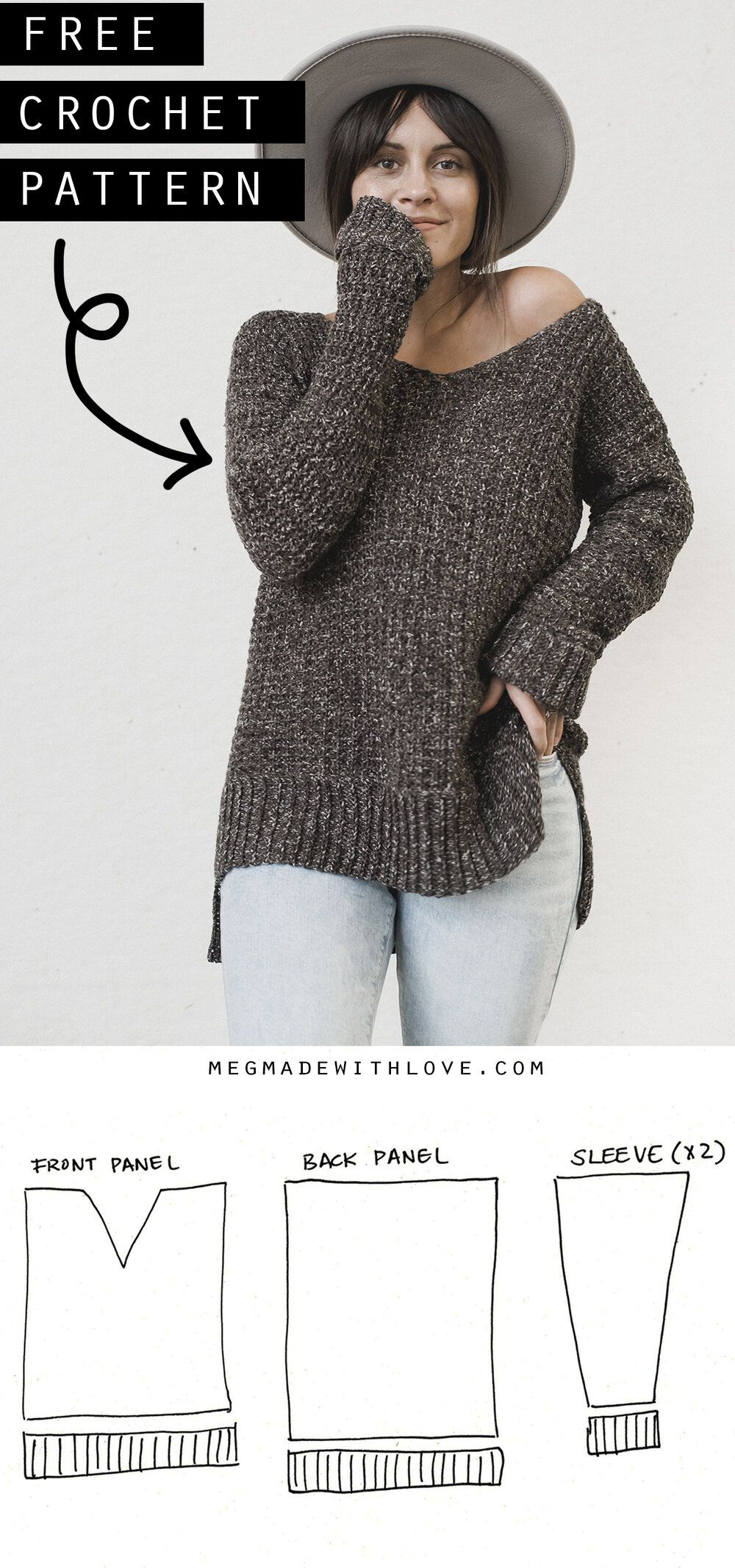 The Home Girl Sweater - Crochet Sweater Pattern #crochetedsweaters