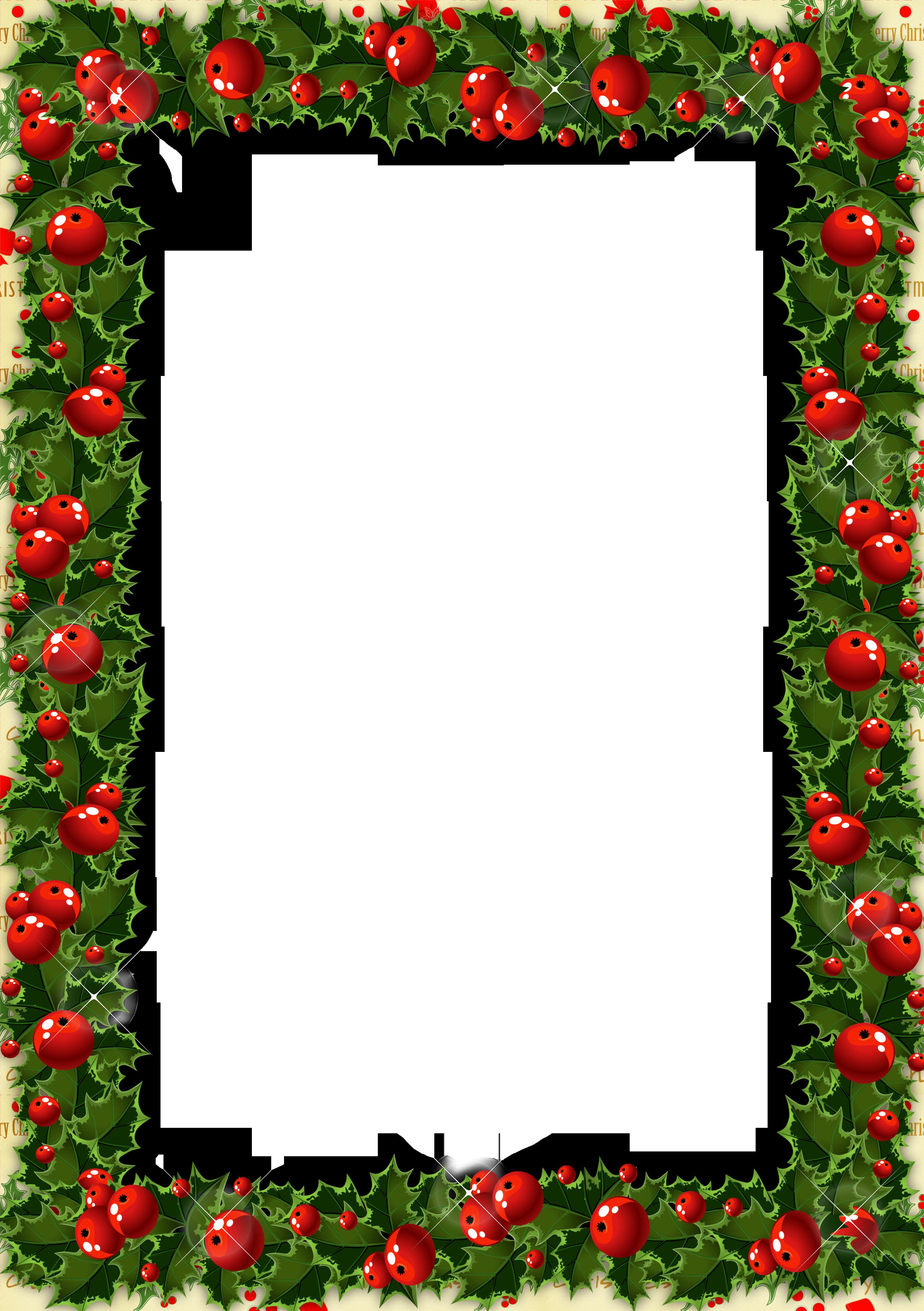 Christmas decorations borders - Transparent Christmas Photo Frame With Mistletoe