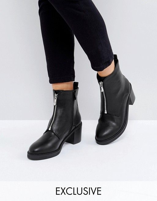 057813928f3e The March Black Zip Front Chunky Heeled Ankle Boots   { Accessories ...