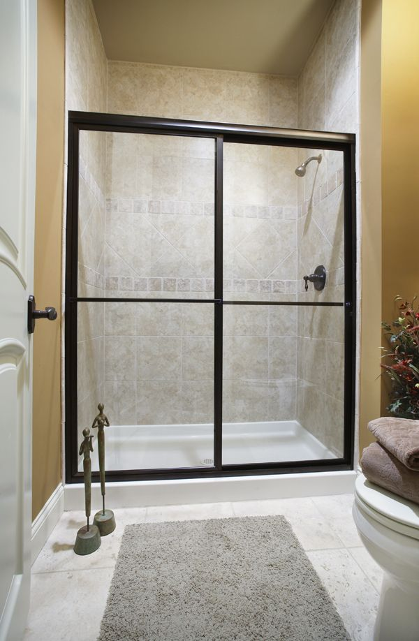 Deluxe Bypass Shower Door featuring Clear glass & Oil Rubbed Bronze ...