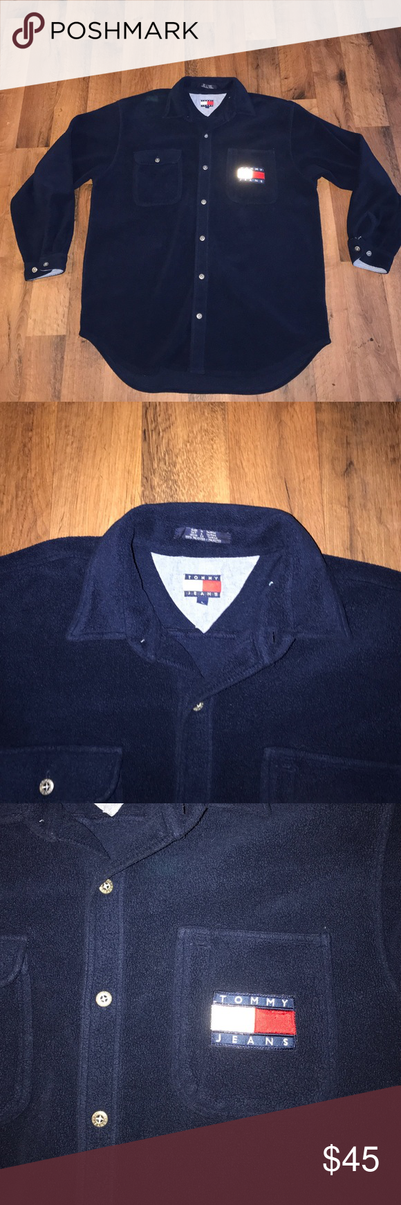 Vintage Large Tommy Hilfiger Fleece Button Shirt Excellent condition Tommy Hilfiger Sweaters