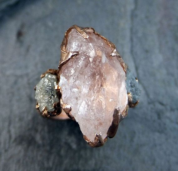 Raw Morganite Diamond Rose Gold Engagement Ring by byAngeline