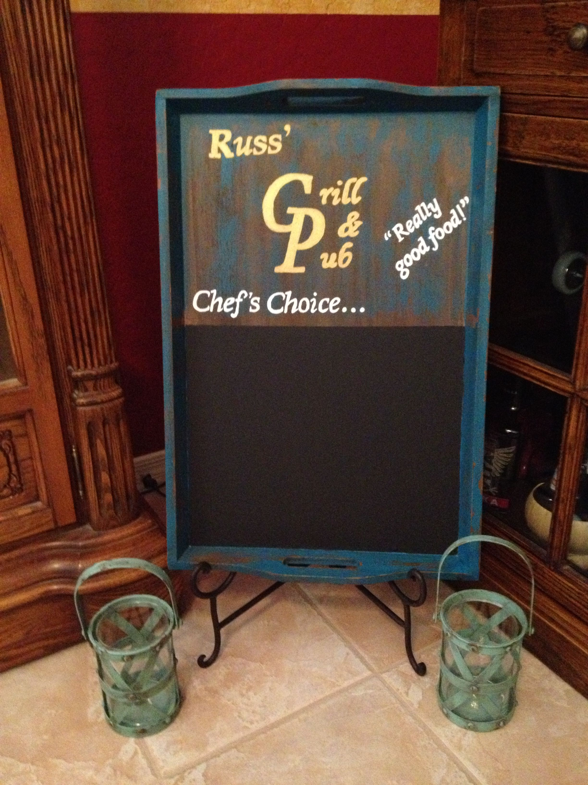 Diy Restaurant Chalkboard Sign This Is Going To Go By My Dad S New Built In Barbecue Grill Ou Chalkboard Paint Chalkboard Signs Chalkboard Quote Art