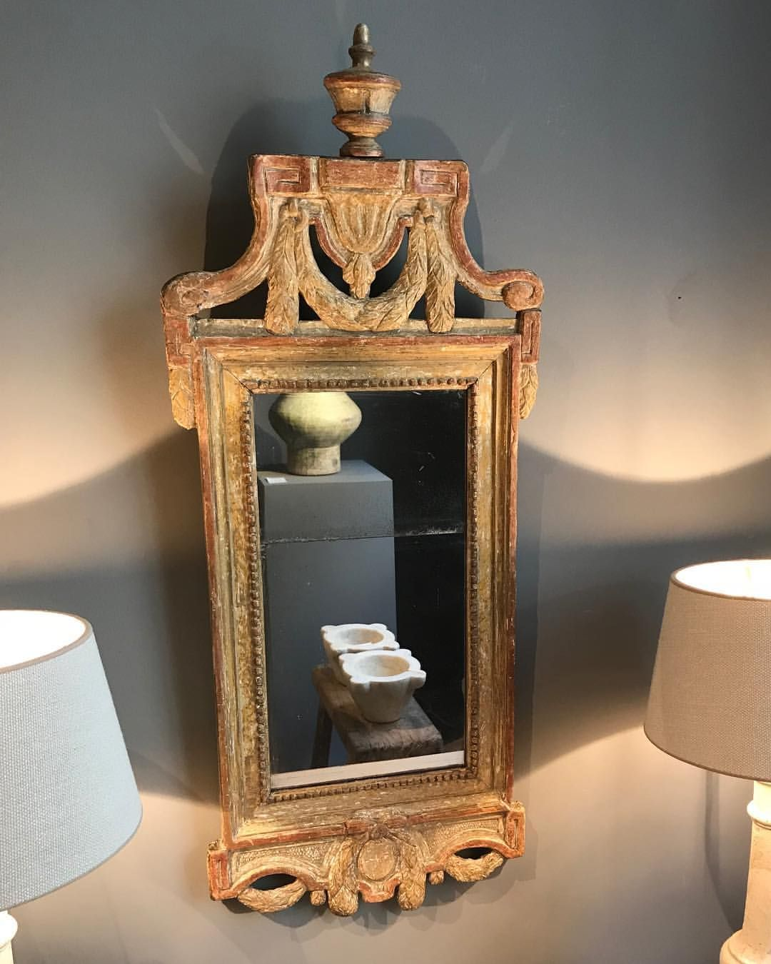 Swedish period gustavian mirror with its original gilding