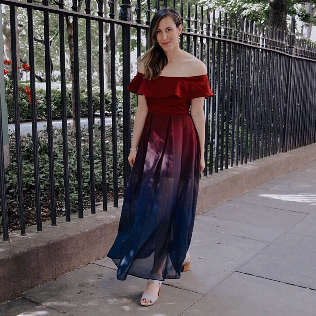 10 Wedding Guest Dresses Under 100 Summer Wedding Style Ombre Dress Off The Shoul Outdoor Wedding Guest Dresses Wedding Guest Dress Summer Wedding Style [ 1080 x 1080 Pixel ]