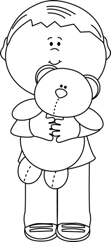 Black And White Boy Holding A Teddy Bear Clip Art