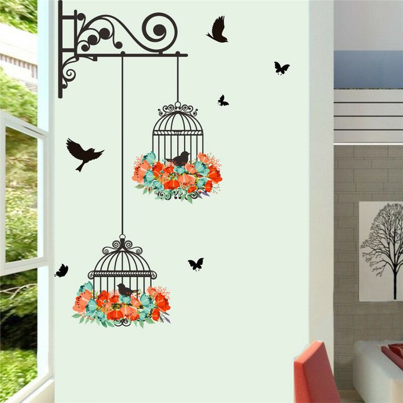 Flower Bird Cage Removable Wall Stickers Living Room Decor Mural Art Home Decal Fashion Home Garden H Sticker Wall Art Bird Wall Decals Wall Decor Stickers