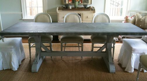 still love this zinc top dining table for the home pinterest rh pinterest com
