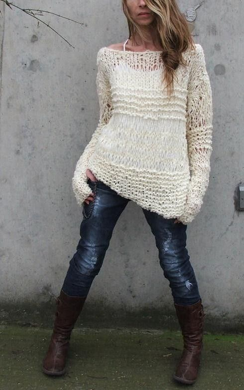 oversized White sweater, Ivory, cream, asymmetrical, grunge ...
