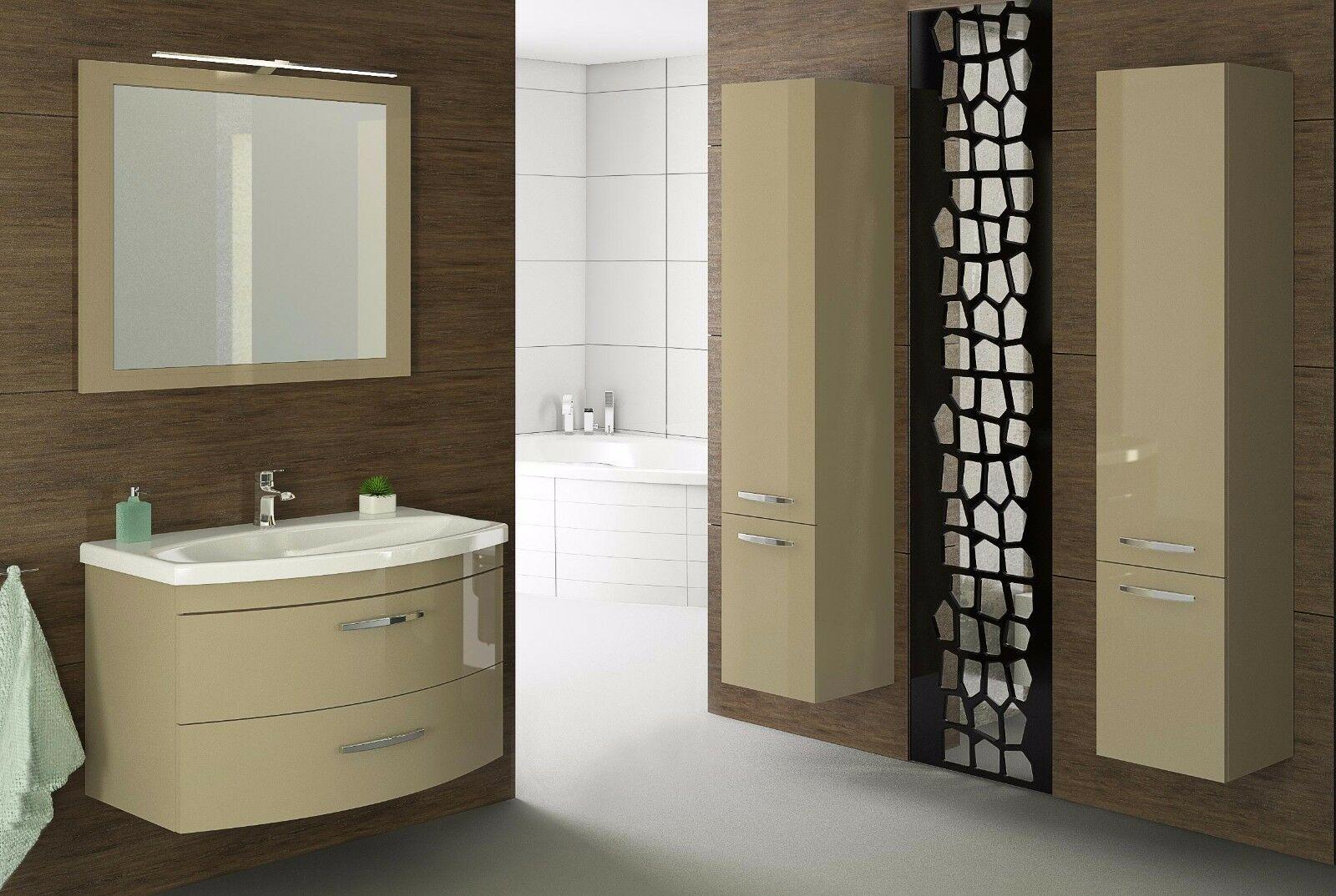 Badmobel Set Vena 80 Cm Badezimmer Mobel Waschbecken Capuccino Hochglanz Led In 2020 Badezimmer Mobel Waschbecken Badezimmer
